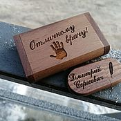 Сувениры и подарки handmade. Livemaster - original item Wooden flash drive with engraving, individual design. Handmade.