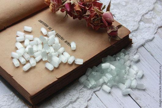 Для украшений ручной работы. Ярмарка Мастеров - ручная работа. Купить Винтажные сатиновые тубы - white satin (medium). Handmade.