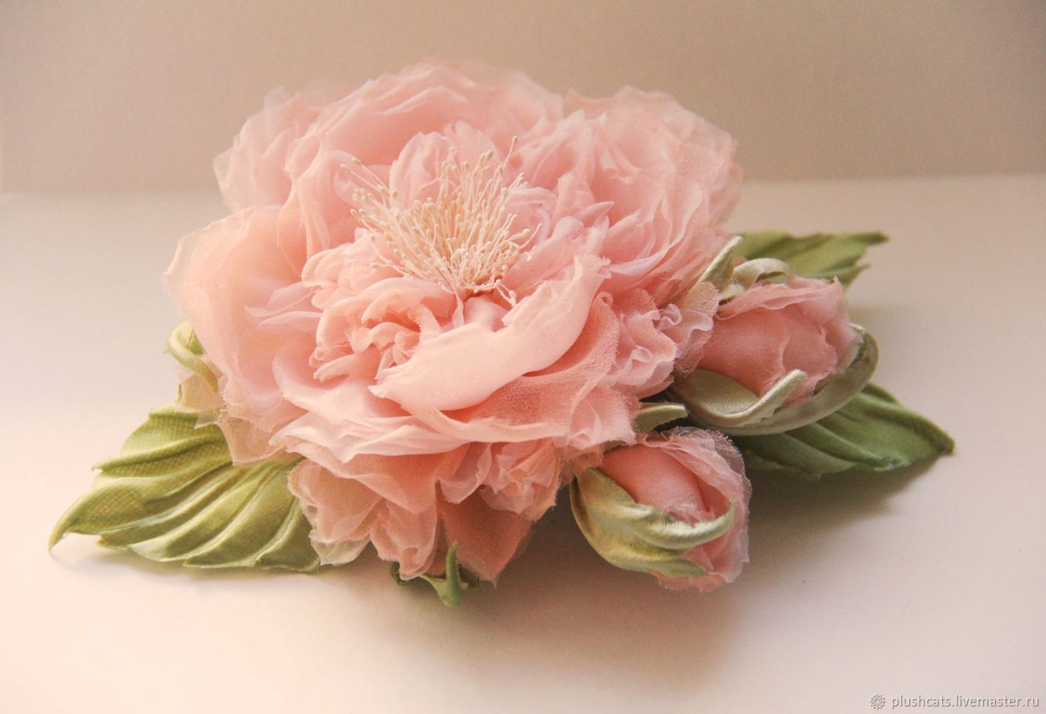 Rose from chiffon 'Romance', Brooches, Moscow,  Фото №1
