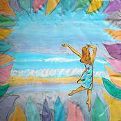 """Аксессуары ручной работы. Ярмарка Мастеров - ручная работа """"Хочу на море!"""" атласный шелковый платок с авторской росписью на заказ. Handmade."""