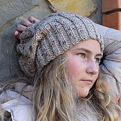 Аксессуары ручной работы. Ярмарка Мастеров - ручная работа Шапка вязаная бини / вязаная шапка женская / с косами зимняя. Handmade.