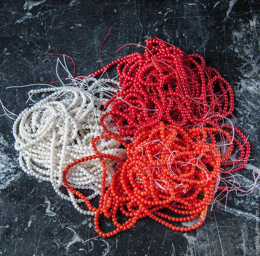 Для украшений ручной работы. Ярмарка Мастеров - ручная работа. Купить Бусины-шарики 2,5 мм из коралла, нити. Handmade.