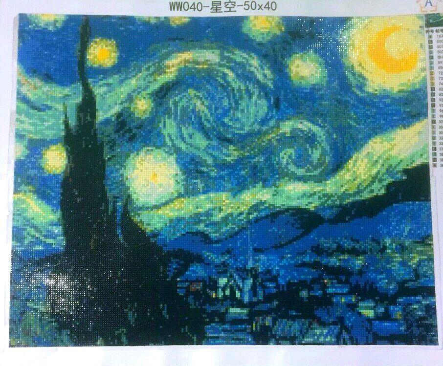 Алмазная вышивка звёздная ночь ван гога