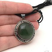 Украшения handmade. Livemaster - original item Locket with jade jade (motive). Handmade.
