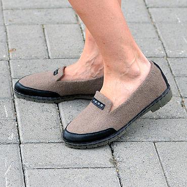 Обувь ручной работы. Ярмарка Мастеров - ручная работа Туфли валяные Latte. Handmade.