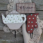 Для дома и интерьера ручной работы. Ярмарка Мастеров - ручная работа набор крючков милый дом sweet home хлопок. Handmade.