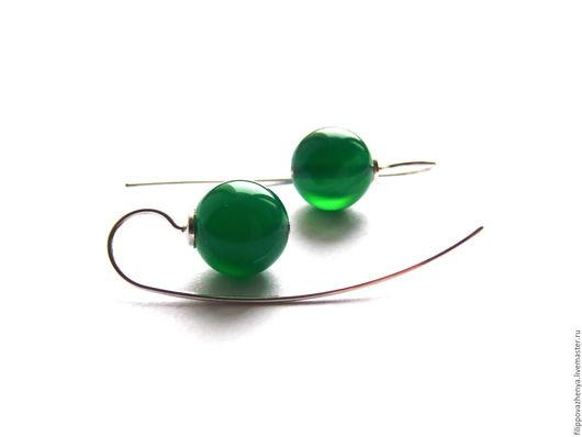 Серьги ручной работы. Ярмарка Мастеров - ручная работа. Купить Лаконичные серьги с зелёным агатом №2. Handmade. Зеленый