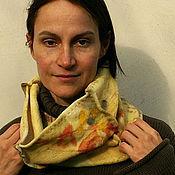 """Аксессуары ручной работы. Ярмарка Мастеров - ручная работа Снуд-шарф """"Стежки"""", эко принт. Handmade."""