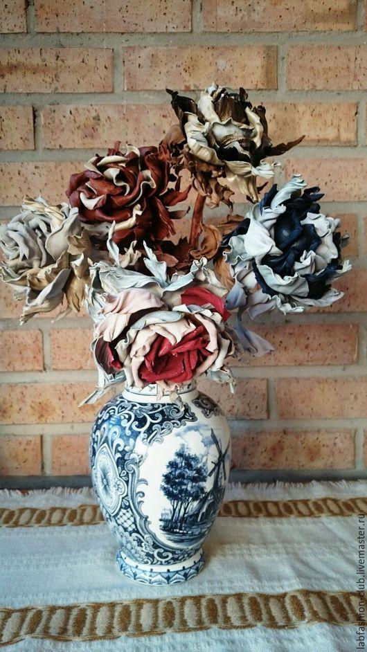 Интерьерные композиции ручной работы. Ярмарка Мастеров - ручная работа. Купить Цветы интерьерные из кожи. Handmade. Цветы ручной работы