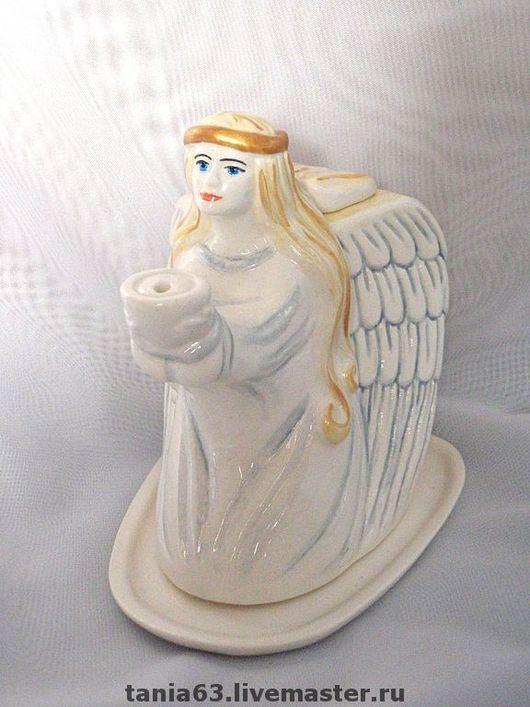 Figurines handmade. Livemaster - handmade. Buy The Lamp 'Angel'.Angel, religion, fire, white, overglaze paint
