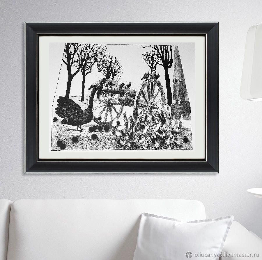 Black and white picture of 'a Turkey and a gun'. Lithograph, Pictures, St. Petersburg,  Фото №1