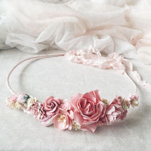 Диадемы, обручи ручной работы. Ярмарка Мастеров - ручная работа. Купить Венок для волос - Rose. Handmade. Розовый цвет