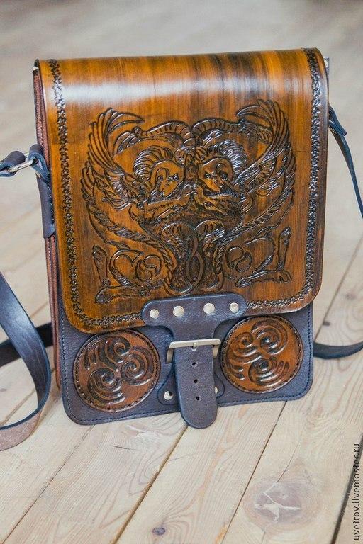 """Браслеты ручной работы. Ярмарка Мастеров - ручная работа. Купить Кожаная сумка """"Грифоны"""". Handmade. Коричневый, сумка из натуральной кожи"""