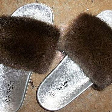 Обувь ручной работы. Ярмарка Мастеров - ручная работа Шлёпки с мехом натуральной коричневой норки. Handmade.