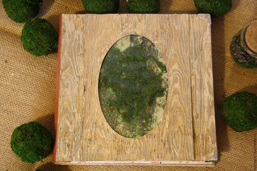 Обложка - шейкер `мох`+объёмная фактура коры дерева