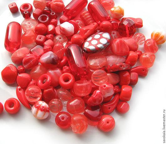 Бусины стеклянные микс Красный, чехия, Preciosa