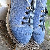 """Обувь ручной работы. Ярмарка Мастеров - ручная работа Ботинки женские, валяные """"Синий туман"""". Handmade."""
