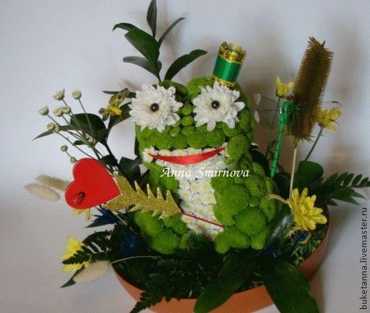 Букеты ручной работы. Ярмарка Мастеров - ручная работа. Купить Царевна лягушка. Handmade. Тёмно-зелёный, живые цветы