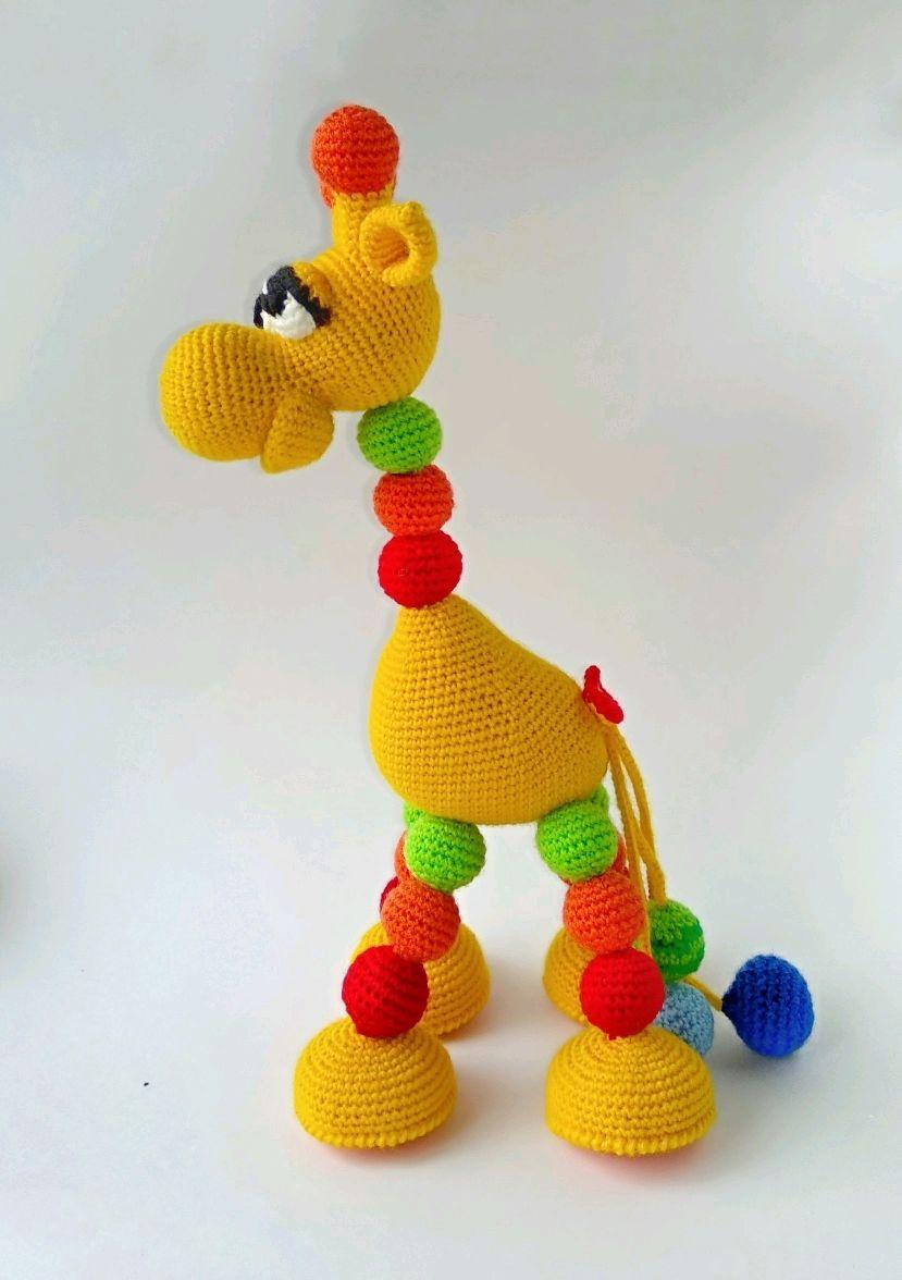Жирафик Лупоглазик вязаный жираф развивающая игрушка развивашка малышу, Игрушки, Санкт-Петербург, Фото №1