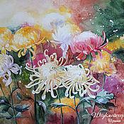 """Картины и панно ручной работы. Ярмарка Мастеров - ручная работа Акварель """"Хризантемы"""". Handmade."""