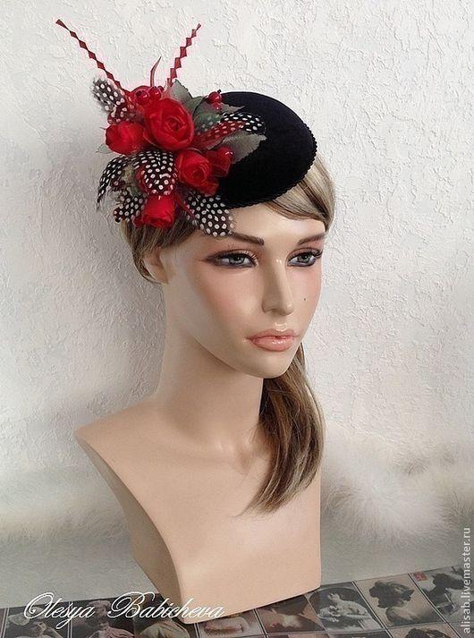 """Шляпы ручной работы. Ярмарка Мастеров - ручная работа. Купить Вечерняя шляпка """"Red roses"""". Handmade. Шляпка, розы"""