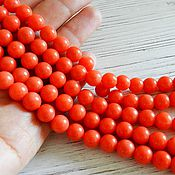 Материалы для творчества handmade. Livemaster - original item Coral bead, natural smooth, 8 mm Orange color (Ref. 2156). Handmade.