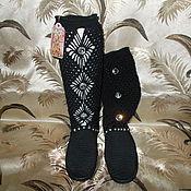 Обувь ручной работы. Ярмарка Мастеров - ручная работа Сапожки чёрные со стразами. Handmade.