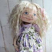 Куклы и игрушки ручной работы. Ярмарка Мастеров - ручная работа Текстильная кукла Дуня в сиреневом платье. Handmade.