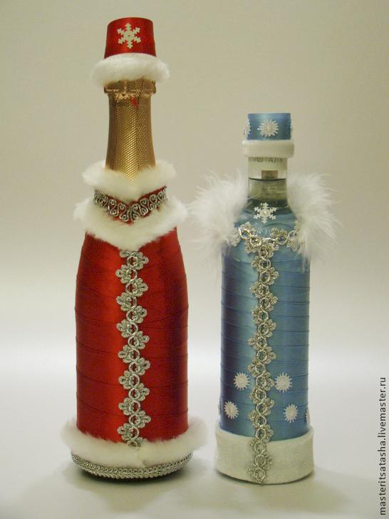 Украшение бутылок лентами к новому году своими
