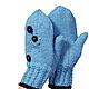 Варежки, митенки, перчатки ручной работы. Варежки голубые Хорошее настроение. Ольга (deni-tejedora). Ярмарка Мастеров. подарок женщине
