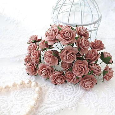 Цветы и флористика ручной работы. Ярмарка Мастеров - ручная работа Бумажные цветы Пудровые розовые 2 см Розы для скрапбукинга. Handmade.