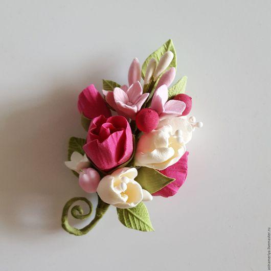 Броши ручной работы. Ярмарка Мастеров - ручная работа. Купить Бутоньерка цветы из полимерной глины очарованье. Handmade. Комбинированный