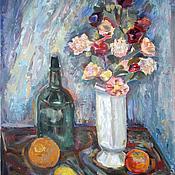 Картины и панно ручной работы. Ярмарка Мастеров - ручная работа Натюрморт с цветами в белой вазе. Handmade.