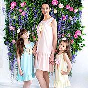 Dresses handmade. Livemaster - original item Yellow dress with flounce hem. The same dress mom daughter familily.. Handmade.