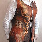 """Одежда ручной работы. Ярмарка Мастеров - ручная работа валяный жилет """"Листья жгут"""". Handmade."""