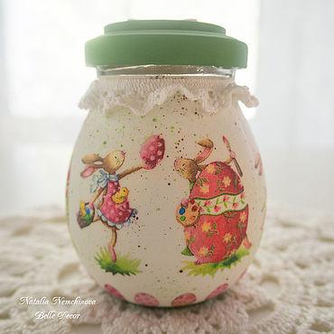"""Посуда ручной работы. Ярмарка Мастеров - ручная работа Баночка """"Кролики"""". Handmade."""