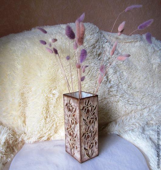 Вазы ручной работы. Ярмарка Мастеров - ручная работа. Купить стеклянная ваза. Handmade. Коричневый, декор для интерьера