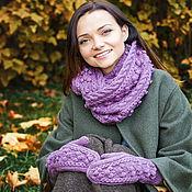"""Аксессуары ручной работы. Ярмарка Мастеров - ручная работа Комплект вязаный """"Мечта королевы"""", шарф снуд вязаный и варежки вязаные. Handmade."""