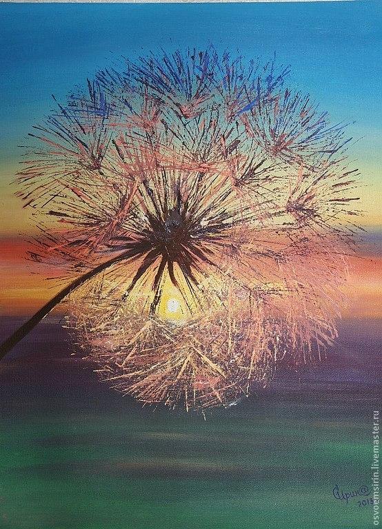 Flower Paintings handmade. Livemaster - handmade. Buy Dandelion at sunset, oil.Gift, painting, picture, oil