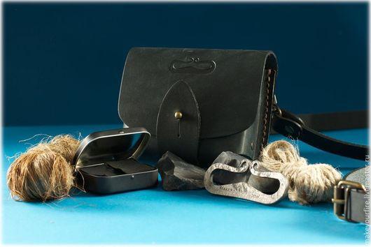 Костровой Набор №4.3.3: кованое огниво (кресало), трут в трутнице, кремень и растопка