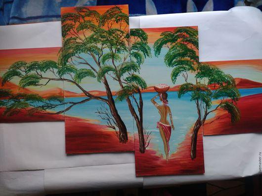 """Люди, ручной работы. Ярмарка Мастеров - ручная работа. Купить Картина маслом """"Африканочка"""" из четырёх частей.. Handmade. Ярко-красный"""