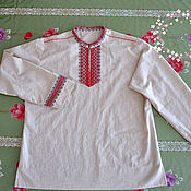 Русский стиль handmade. Livemaster - original item Men`s linen shirt in Slavic (ethno) style. Handmade.