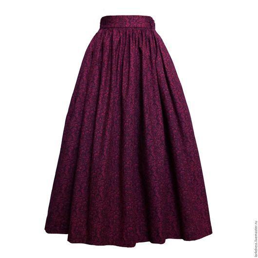 Юбки ручной работы. Ярмарка Мастеров - ручная работа. Купить Юбка миди Crimson lilly 80 см с карманами. Handmade.