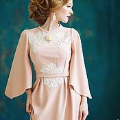 Одежда ручной работы. Ярмарка Мастеров - ручная работа Платье цвета пудры с рукавом. Handmade.