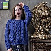 Одежда handmade. Livemaster - original item Jumpers: Women`s handmade Merino sweater in the color Blue night. Handmade.