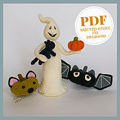 handmade. Livemaster - original item Amigurumi Halloween Pattern. Crochet Ghost with Pumpkin bats & cats. Handmade.