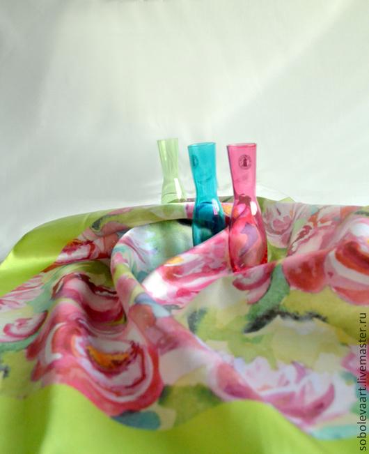 Шали, палантины ручной работы. Ярмарка Мастеров - ручная работа. Купить Платок с цветочным принтом - Платки - Пионы - Розовый. Handmade.