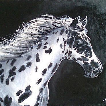 """Картины и панно ручной работы. Ярмарка Мастеров - ручная работа Картина """"Конь в яблоках. Черно белый"""". Handmade."""