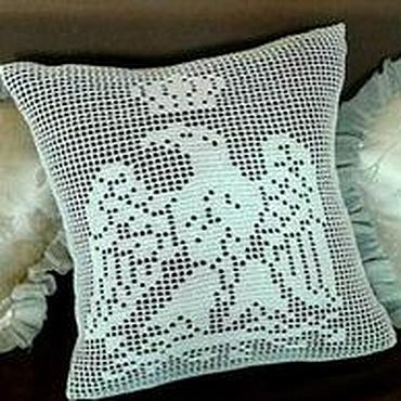 "Textiles handmade. Livemaster - original item Наволочка вязаная крючком ""Орёл"". Handmade."