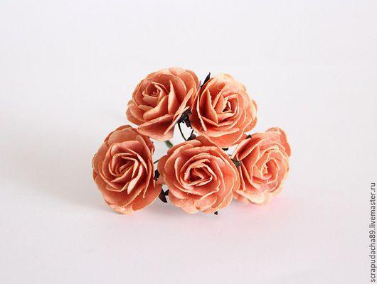 Открытки и скрапбукинг ручной работы. Ярмарка Мастеров - ручная работа. Купить Maxi розы персиковые, 5 штук. Handmade. Оранжевый